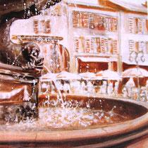 308- La fontaine des Dauphins, huile 30x40