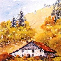 365- La ferme du Larcenaire à Bussang, aquarelle bénévole 24x30 ayant servi à éditer une carte postale philatélique nationale