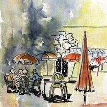 * 213 Depuis Le Lido à Gérardmer: chaises parasols de la saison 1994, aquarelle 40x50