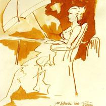 * 709- Dessin lavis réalisé autour du lac de Gérardmer en situation, à la teinture merisier ,sur papier Lana 140 gr