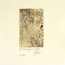 * 1066-Gravure,estampe nu :  Le repos du modèle