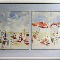* 203 La plage du Lido à Gérardmer ,aquarelle, 77 X 48 ,encadré