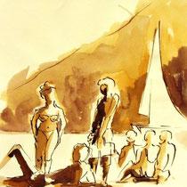 * 706- Dessin lavis réalisé autour du lac de Gérardmer en situation, à la teinture merisier ,sur papier Lana 140 gr