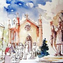 *133-   La chapelle de St-Bresson Haute-Saône  ;  partie d'une grande aquarelle 85 X 33