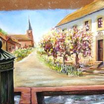 """* 350-  Raon-sur-Plaine, lors d'un concours de peinture """"Les peintres dans la vallée de Celles-sur-Plaine""""Pastel 50x70.Le Maire du village s'appelle Antoine Quirin !"""