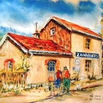 368-La gare de Zainvillers,  pastel réalisé sur place lors de la fête de La Voie Verte 50x70