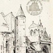 Mon dessin bénévole, en carte postale éditée par La Poste, lors de la sortie du timbre sur Epinal