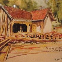 357- La scierie de la Colline des Eaux, haut-fer réhabilité par Aloïse et Robert Quirin, mes petits-cousins, pastel 50x70. réalisé sur place