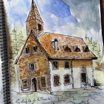 231- La chapelle de la Trinité Gérardmer, dessin du carnet de voyage