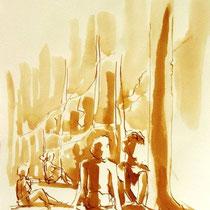 * 694- Dessin lavis réalisé autour du lac de Gérardmer en situation, à la teinture merisier ,sur papier Lana 140 gr
