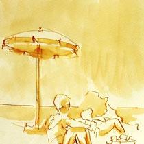 * 692- Dessin lavis réalisé autour du lac de Gérardmer en situation, à la teinture merisier ,sur papier Lana 140 gr
