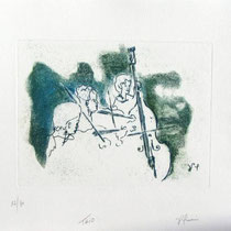 * 995-Gravure,estampe musique :  Trio, Contrebasse, violons