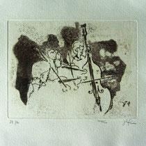 Gravure,estampe musique : * 994- Trio, Contrebasse, violons