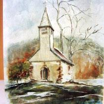 736- La chapelle du lac de Longemer, aquarelle 50 x 70