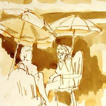 * 700- Dessin lavis réalisé autour du lac de Gérardmer en situation, à la teinture merisier ,sur papier Lana 140 gr