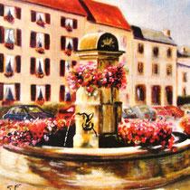 306- La fontaine des Éléphants, huile 30x40