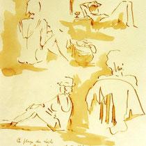 * 689- Dessin lavis réalisé autour du lac de Gérardmer en situation, à la teinture merisier ,sur papier Lana 140 gr
