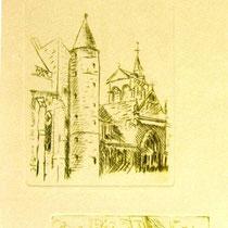 * 1075-  Gravure,estampe :   La Basilique St-Maurice d'Epinal