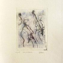 * 987- Annie et Valentin, nos deux contrebassistes, Vélin d'Arches  30 x 40