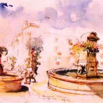 304- Quelques fontaines de Remiremont, aquarelle 85 x 33