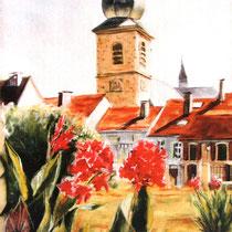 296- Depuis le parc du Château Zeller, pastel 50x70
