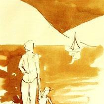 * 699- Dessin lavis réalisé autour du lac de Gérardmer en situation, à la teinture merisier ,sur papier Lana 140 gr