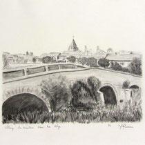 * 348- Un village de la Vôge, près de Mirecourt, crayon 30x40
