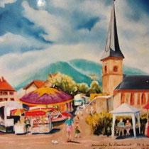 323- La foire aux pieds de cochons, Dommartin-lès-Remiremont, pastel réalisé sur place, 50x70