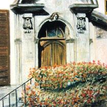 310- L'entrée du presbytère de Remiremont, pastel 50x70