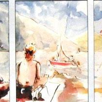 203-  Sur la plage du Lido à Gérardmer,aquarelle 60 X 30