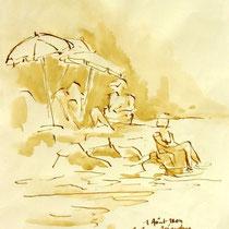 * 251- Lavis teinte merisier, la vie autour du lac de Gérardmer, 21x30