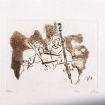Gravure,estampe musique : *1001- Trio, Contrebasse, violons