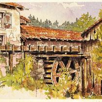 358- Roue à aube ,par le dessus,aquarelle originale