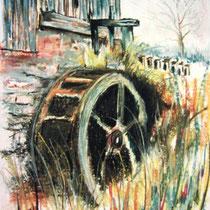 233- La roue d'eau du haut-fer, pastel 50x70