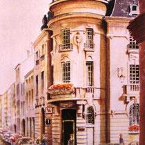 313-  La Caisse d'Epargne à Remiremont, aquarelle 50x70