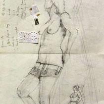 """Le dessin original au crayon de papier, d'après modèle vivant auquel j'ai ajouté du """" Jean-Paul Gautier """" !       """""""