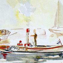 petit bateau à vapeur suisse ,au bois !