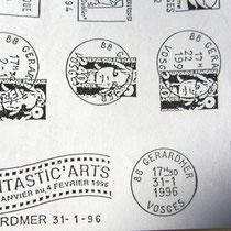 """Dessin de la flamme postale pour le compte bénevole de """"Fantastic'art' : Pierre sachot Président, et la Poste de Gérardmer,Robert Michel Cher d'établissement."""