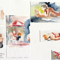* 672 Montage d'aquarelles de personnages au Lido...30 x 40 , Arches 350gr