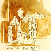 * 269- Lavis teinte merisier, la vie autour du lac de Gérardmer, 21x30