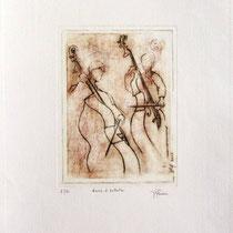 * 988- Annie et Valentin, nos deux contrebassistes, Vélin d'Arches  30 x 40