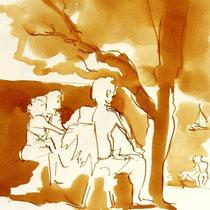 * 695- Dessin lavis réalisé autour du lac de Gérardmer en situation, à la teinture merisier ,sur papier Lana 140 gr
