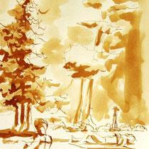 * 696- Dessin lavis réalisé autour du lac de Gérardmer en situation, à la teinture merisier ,sur papier Lana 140 gr