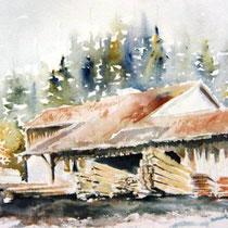 735- La scierie de Sapois, aquarelle 50 x 70