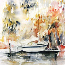 198- Le lac, aquarelle, 50 X 70 , peint en direct