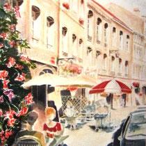 312- Café-terrasse sous les Arcades à Remiremont, aquarelle 50x70