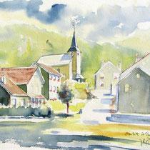 * 339-  le village de Beulotte-St-Laurent dans les Vosges saônoises, aquarelle 30x40