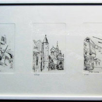 1071-  Gravure,estampe :  Assemblage de 5 gravures sur les Vosges dont Epinal, format 85 x 30