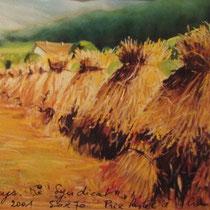 """355- Les dernièresgerbes de blé: """"les treseys"""", au Syndicat ,pastel 50x70"""
