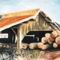 224- Une scierie à Xonrupt-Longemer, pastel 50x70